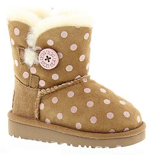 UGG Kids Girl's Bailey Button Polka Dot (Toddler/Little Kid) Chestnut Boot 9 Toddler M