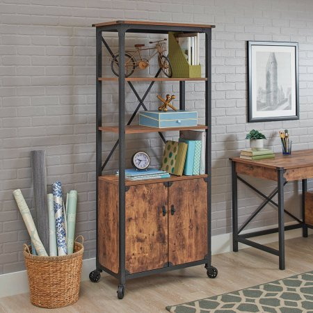 (Rustic Country Library with Doors, Weathered Pine Finish)