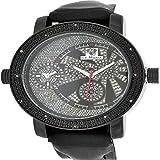 Pave Set Genuine Diamond Jojino Jojo Ice Mania Sleek Black Leather Men Watch New