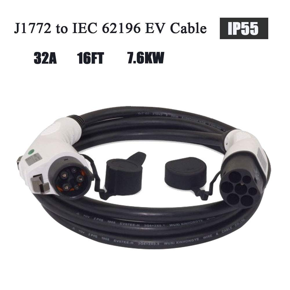 KHONS J1772 Adapter 32 Amp 5 Meter Type 1 to IEC 62196 Type 2 EV Charging Cable for Electric Vehicle Charging Station