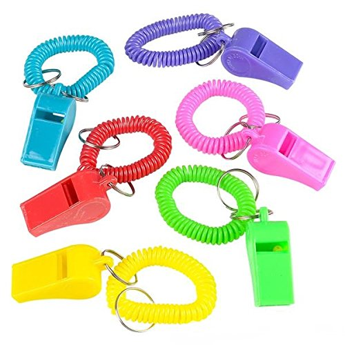 24 Colorful Spiral Bracelet and Keychain Whistles Fun noise making Whistles Toy For Kids! -