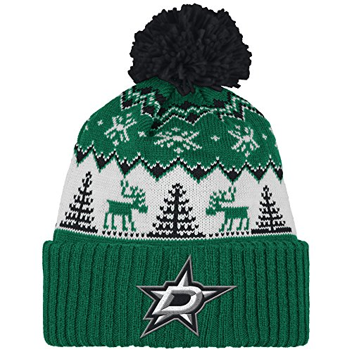 NHL Dallas Stars Reindeer Cuffed Pom Knit, One Size, Green by Reebok