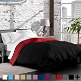 Bare Home Ultra-Soft Premium 1600 Series Goose Down Alternative Reversible Comforter - Hypoallergenic - All Season - Plush Fiberfill (Twin/Twin XL, Black/Red)