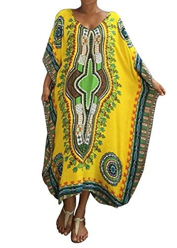 RBwinner Womens Soft African Print Beach Cover Up Ethnic Dashiki Print Kaftan Bathing Suit Maxi Dress