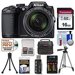 Nikon Coolpix B500 Wi-Fi Digital Camera (Black) with 16GB Card + Case + Batteries & Charger + Tripod + Kit