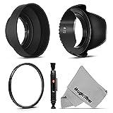 72MM Accessory Kit for CANON (EF 35mm f/1.4L, EF 85mm f/1.2L II, EF 135mm f/2L), NIKON (85mm f/1.4, 18 200mm f/3.5 5.6G) Lenses - Includes: Tulip Lens Hood + Collapsible Rubber Lens Hood + UV Lens Filter + Lens Cleaning Pen + MagicFiber Microfiber Lens Cleaning Cloth