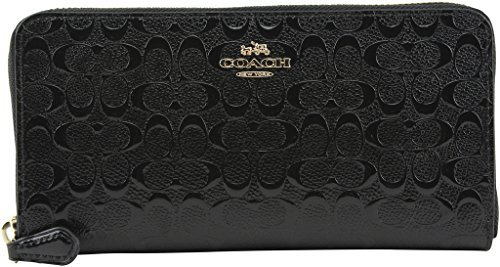 Coach Accordion Zip Wallet in Signature Debossed Patent Leather - F54805 (Black) by Coach