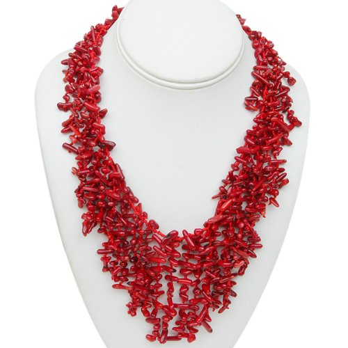 Red Coral Chips Strand Necklace