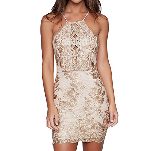 ee018af0f6 LAEMILIA Women Boho Floral Lace Embroidery Mini Dress Sequin Glitter Short  Beaded Backless Halter Bodycon Cocktail Party Dress - Buy Online in Oman.