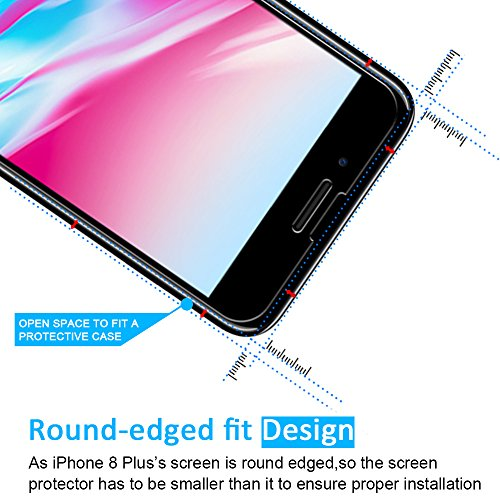 [2 Pack] Pellicola Vetro Temperato iPhone 8 Plus / 7 Plus, iVoler ** [Protezione Antigraffi] **Anti-riflesso Ultra-Clear** Ultra resistente in Pellicola iPhone 8 Plus / 7 Plus, Pellicola Protettiva Pr