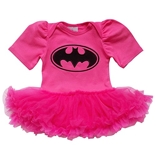 [So Sydney Baby Girls Tutu Chiffon Ruffle Skirted Onesie Superhero Romper (XS (3-6 Months), Hot Pink & Black] (Baby Batgirl Outfit)