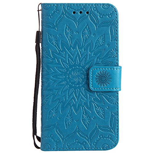 (P8 Lite 2017 Case, Dfly-US Premium PU Leather Embossed Mandala Design with Kickstand Function Card Slots & Wrist Strap Protective Flip Slim Wallet Cover for Huawei P8 Lite 2017, Blue)