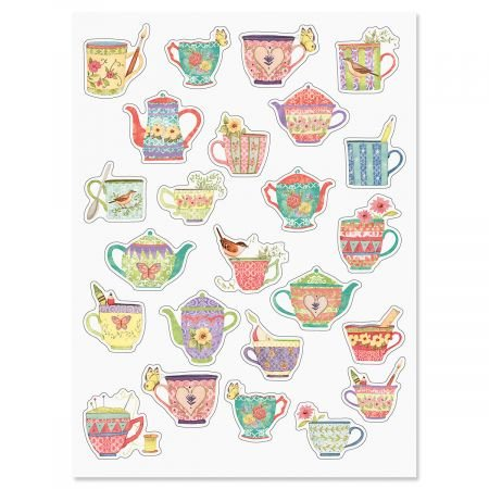 Current Bright Teacup Stickers - 2 sheets (48 stickers total)