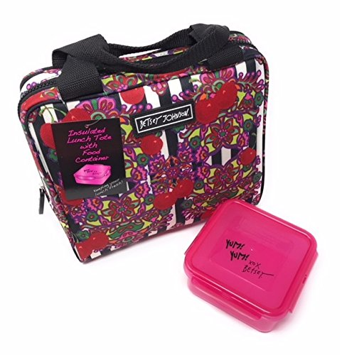 Insulated Lunch Tote with Food Storage Container (B/W Stripe)