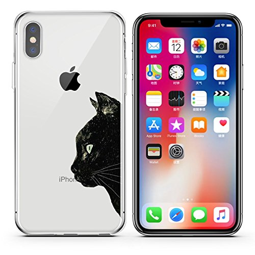 FoxyCases Compatible with iPhone X / Xs, Cartoon Anime Animated Black Side Face Cute Beautiful Cat Kitty Meow Pussy Series Transparent Translucent Flexible Silicone Clear Cover Case (Animated Phone)