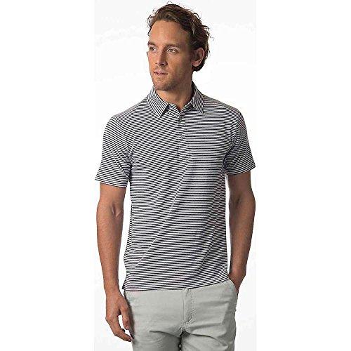 Tasc Bamboo Air Stretch Polo Shirt - Men's White / Black Heather Stripe Small