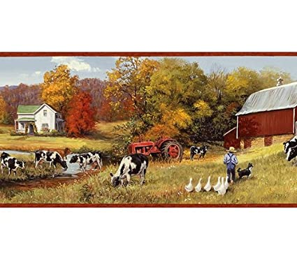 Holstein Cow Pasture Farm Wallpaper Border