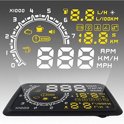 CarBest HUD Head Up Display with OBD2 EOBD Interface for Cars RPM MPH KM/H Over Speed Warning Fuel Consumption Automobile Alarm System