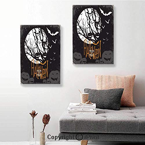 SfeatruRWF 2 Panel Canvas Wall Art,Halloween Themed Image with Full Moon and Jack o Lanterns on a Tree Decorative,24