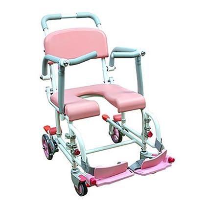 GUO Aluminio polea silla de baño silla de baño silla de ruedas para mover asiento de