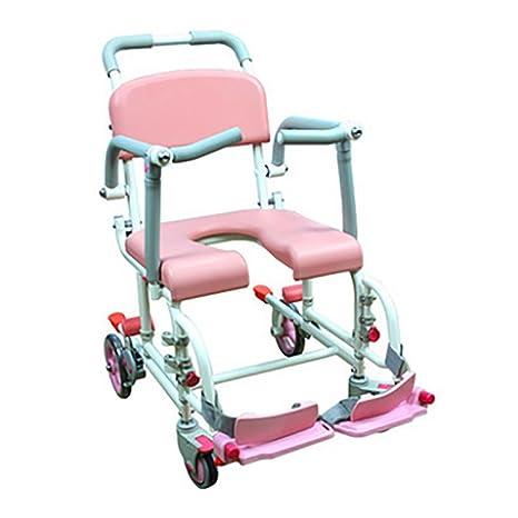 Qian Aluminio polea silla de baño silla de baño silla de ruedas para mover asiento de