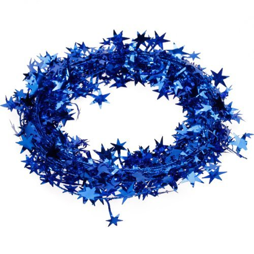 - Fjs 23 Feet Star Tinsel Garland Christmas Decoration - Decoration Inside Light Indoor Blue Door Mini Pink Table Gingerbread Rose Soldiers Pillow Kitchen Garland Rustic Wi ()