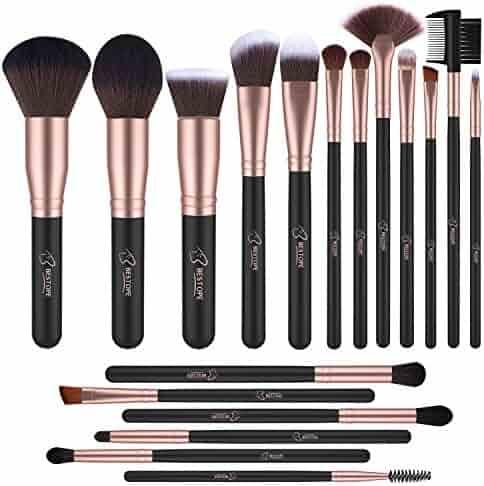 BESTOPE 18 Piece Makeup Brushes Set Premium Kabuki Brushes Synthetic Foundation Blending Blush Face Eyeliner Shadow Brow Concealer Lip Brush Tool Beauty Collection Cosmetic Brushes Kit