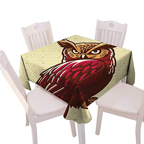 longbuyer Wrinkle Free Tablecloths owl Stand on The Tree Branch Square Tablecloth W 54