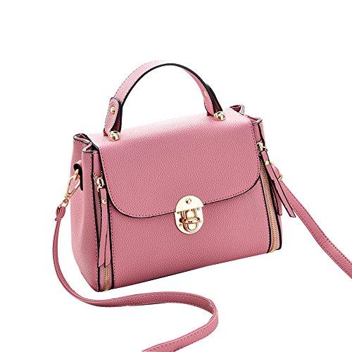 Bolso De Hombro Con Forma De V En Forma De Cuero Bolso De Mano Con Diseño Elegante En La Parte Superior Para Mujeres Pink