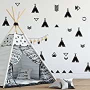 The Boho Design Tents Wall Vinyl Decal. Tent Sticker Nursery. Adhesive Tribal TeePees Kids Baby Nordic Bedroom Decoration