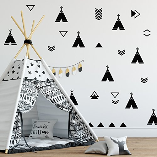 WALL VINYL STICKER DECAL DECOR NURSERY. Adhesive Tribal Tents TeePees for Kids Baby Nordic Bedroom Decoration