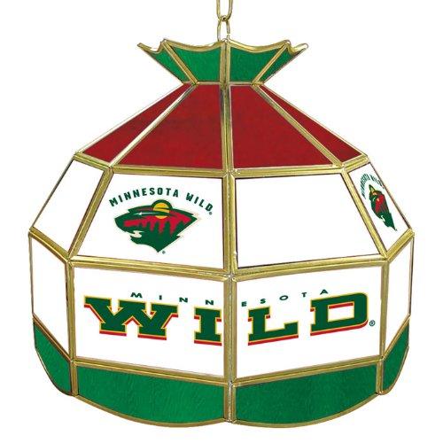 NHL1600-MW - NHL Minnesota Wild Stained Glass Tiffany Lamp - 16 inch - Wild Minnesota Lamp Nhl