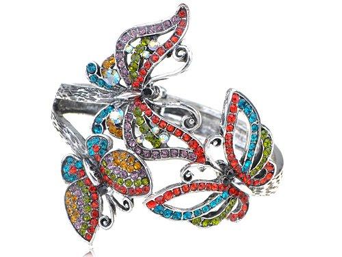 Alilang Women Antique Colorful Cute Rainbow Crystal Rhinestone Butterfly Trio Bracelet Bangle Cuff