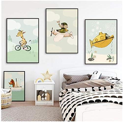 家の装飾モジュラー写真壁アートキャンバス輸送漫画動物絵画プリント北欧水彩ポスターキッズルーム-40x50x3Pcscmなしフレーム