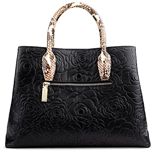 Handbags Top Black Bags Roses Crossbody Handle Zooler Leather Bag Embossed Womens 6Eq1Z6wF