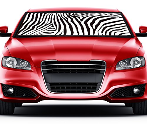 Premium White Zebra Animal Sun Shade Print Car Truck Front Windshield Auto Accordion Style Sunshade