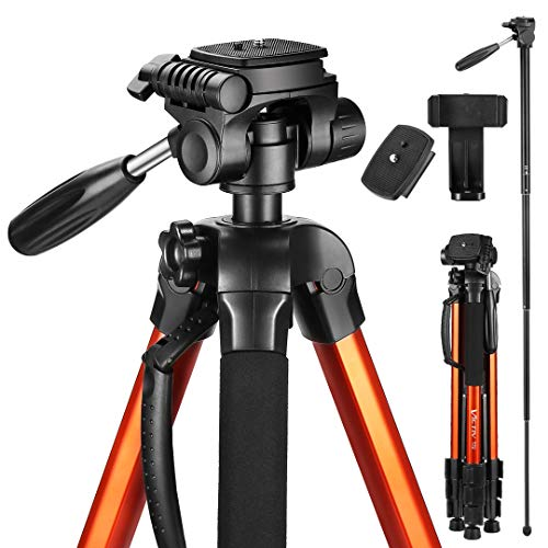 Victiv 72-inch Compact Tripod for Camera, Durable Aluminum Stand for YouTube Videos, Live Webcasts, Lightweight Monopod with Phone Mount Holder and 2 Quick Release Plates for Canon Nikon - Orange