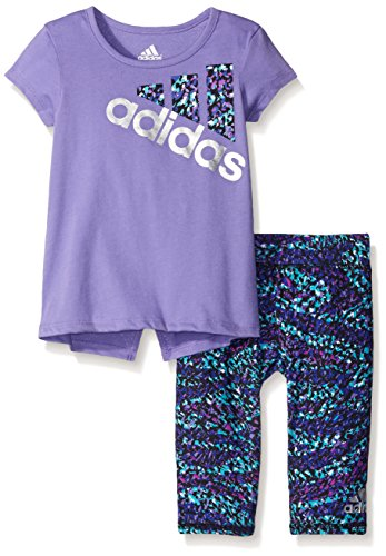 Adidas Baby Girls Short Sleeve Tee and Capri Set