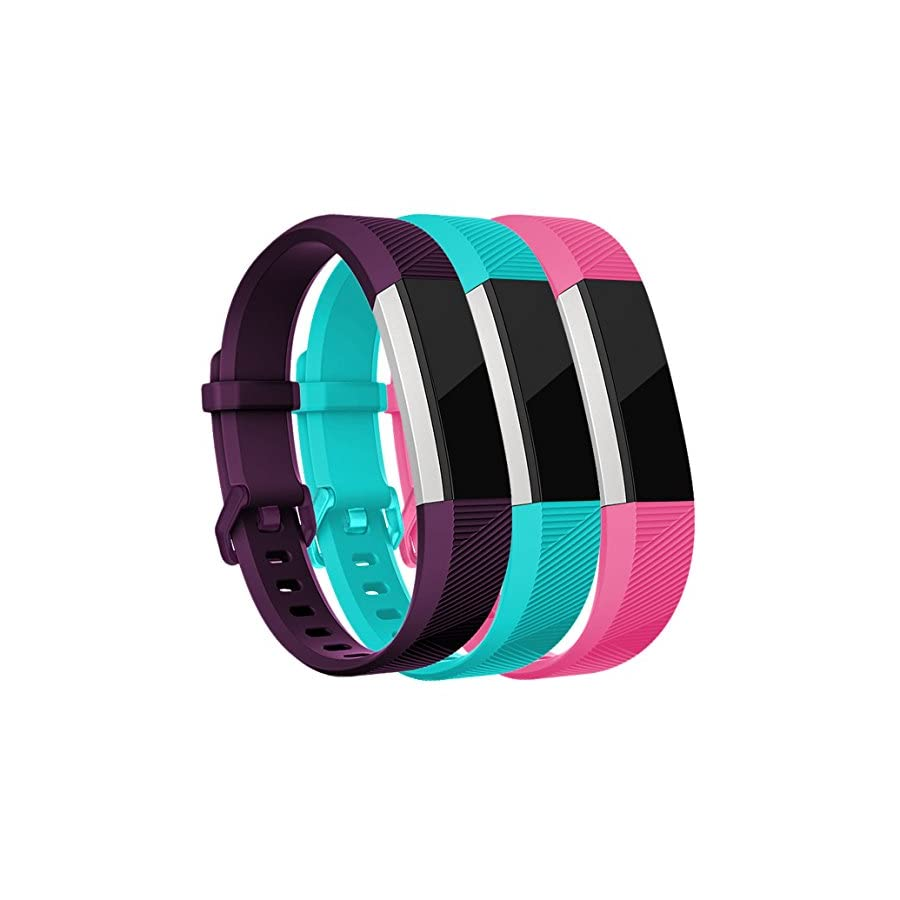 Maledan Replacement Bands Compatible for Fitbit Alta, Alta HR and Fitbit Ace, Classic Accessories Band Sport Strap for Fitbit Alta HR, Fitbit Alta and Fitbit Ace, 3 Pack, Plum/Rose Pink/Teal, Small