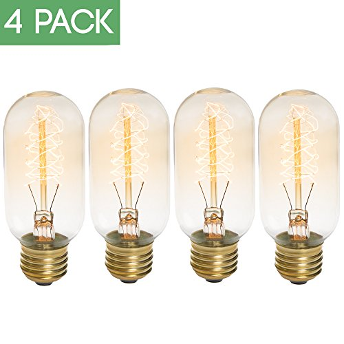 Edison Bulb 4 Pack - T45 - Tubular Filament - Dimmable, Edison (Blue Spirals Teardrop Pendant)