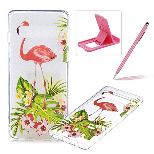 (Rubber Case for Samsung Galaxy S10 Plus,Herzzer Premium Stylish [Flamingo Flower Printed] Scratch Resistant Ultra Thin Soft Gel Silicone Transparent Clear Crystal Slim Fit TPU Back Cover)