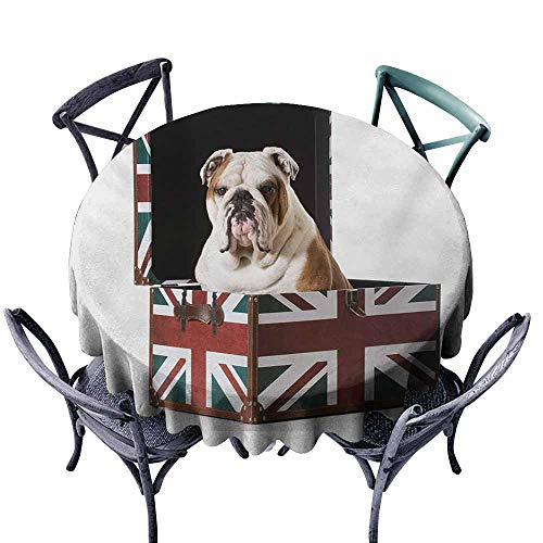 VIVIDX Washable Round Tablecloth,English Bulldog,Cute Bulldog Sitting in Union Jack Britain Themed Box Patriotic Design,Table Cover for Kitchen Dinning Tabletop Decoratio,60 -