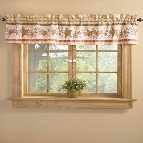 Country Primitive Hearts Stars Berries Folk Art Linda Spivey Bath Window Valance ()