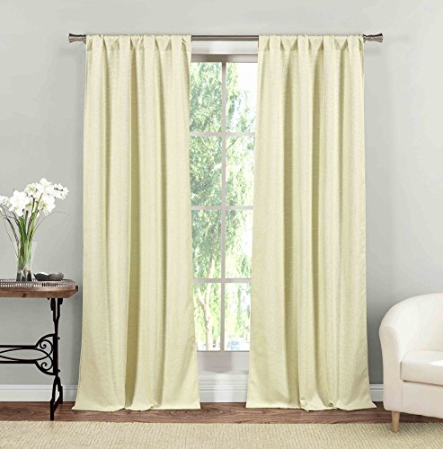 Home Maison - Rebecca Natural Linen Textured Pole Top Window Curtains for Living Room & Bedroom - Assorted Colors - Set of 2 Panels (37 X 84 Inch - Cloud - Rebecca Drapes