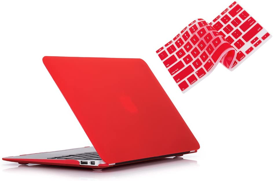 RUBAN Case Compatible with MacBook Air 11 Inch Release (A1370/A1465) - Slim Snap On Hard Shell Protective Cover and Keyboard Cover for MacBook Air 11, Red