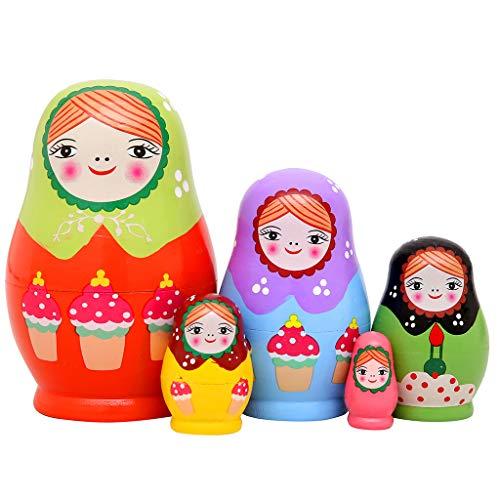 - Monnmo 5Pcs Handmade Wooden Russian Nesting Dolls Matryoshka Dolls - Stacking Doll Set of 5 from 4.3