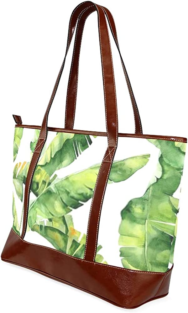 Tote Bags Seamless Watercolor Illustration Tropical Leaves Dense Travel Totes Bag Fashion Handbags Shopping Zippered Tote For Women Waterproof Hand