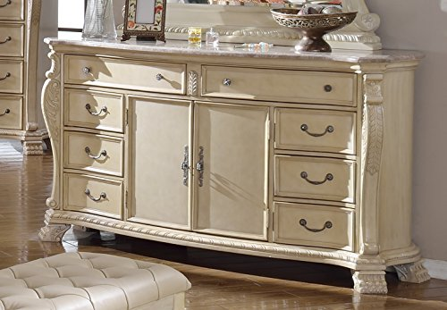 Meridian Furniture Monaco-D Monaco 8 Drawer + 2 Door Solid Wood Dresser with Traditional Hand Carved Designs, and Genuine Marble Top, Rich Antique White ()