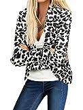 Allegra K Woman Peaked Lapel One Button Closed Leopard Prints Blazer