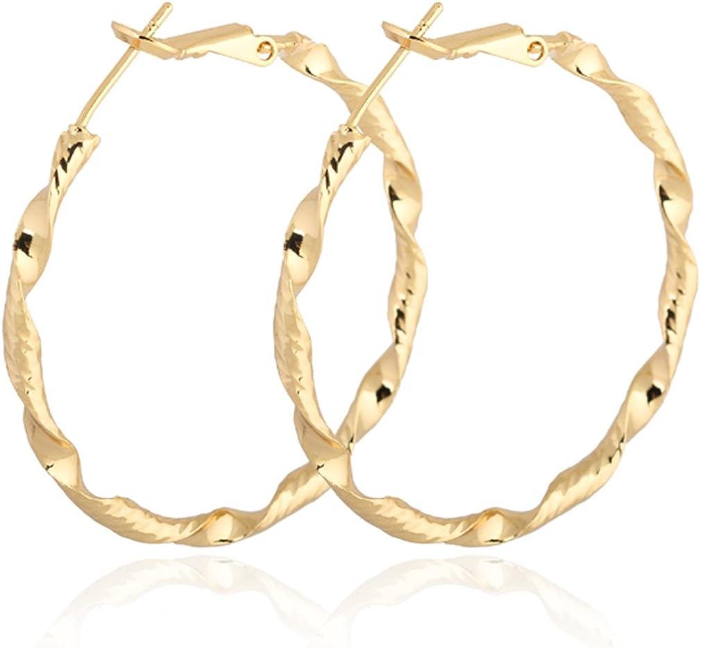 Yazilind elegante Vogue 14K chapado en oro trenzado Extra Grande Omega Volver Pendientes de aro de 40 mm de diámetro